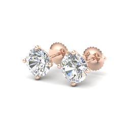 3.01 ctw VS/SI Diamond Solitaire Art Deco Stud Earrings 18K Rose Gold