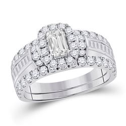 14kt White Gold Emerald Diamond Solitaire Bridal Wedding Engagement Ring 2-1/2 Cttw
