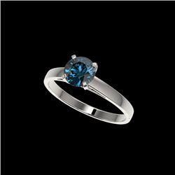 1.05 ctw Certified Intense Blue Diamond Engagement Ring 10K White Gold