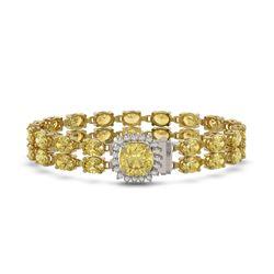 27.68 ctw Citrine & Diamond Bracelet 14K Yellow Gold