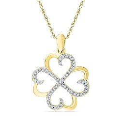 10kt Yellow Gold Round Diamond Heart Pendant 1/5 Cttw