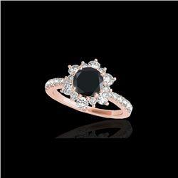 2.19 ctw Certified VS Black Diamond Solitaire Halo Ring 10K Rose Gold