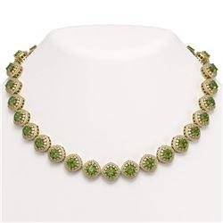 72.27 ctw Tourmaline & Diamond Victorian Necklace 14K Yellow Gold