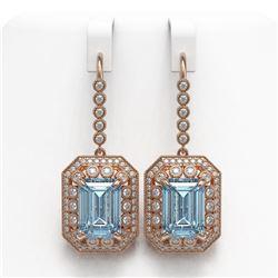 24.81 ctw Sky Topaz & Diamond Victorian Earrings 14K Rose Gold