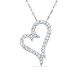 10kt White Gold Round Diamond Heart Pendant 1/5 Cttw