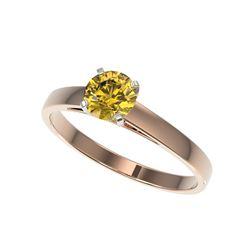 .74 ctw Certified Intense Yellow Diamond Engagement Ring 10K Rose Gold