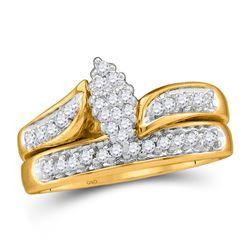10kt Yellow Gold Round Diamond Bridal Wedding Engagement Ring Band Set 1/4 Cttw