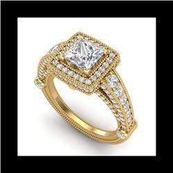 2.53 ctw Princess VS/SI Diamond Solitaire Art Deco Ring 18K Yellow Gold