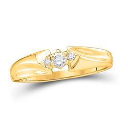 14kt Yellow Gold Round Diamond 3-stone Promise Bridal Ring 1/10 Cttw