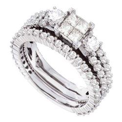 14kt White Gold Princess Diamond Cluster Bridal Wedding Engagement Ring Band Set 2.00 Cttw