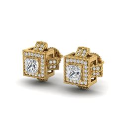1.73 ctw Princess VS/SI Diamond Micro Pave Stud Earrings 18K Yellow Gold