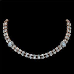 39.28 ctw Sky Topaz & Diamond Necklace 14K Rose Gold