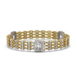 18.96 ctw Emerald Cut & Oval Diamond Bracelet 18K Yellow Gold