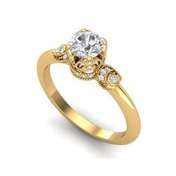 1 ctw VS/SI Diamond Solitaire Art Deco Ring 18K Yellow Gold