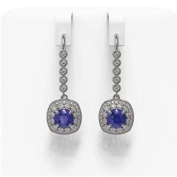 5.1 ctw Certified Sapphire & Diamond Victorian Earrings 14K White Gold
