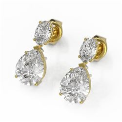 3.7 ctw Pear and Oval Diamond Designer Earrings 18K Yellow Gold