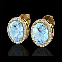 5.50 ctw Aquamarine & Micro VS/SI Diamond Halo Earrings 18K Yellow Gold