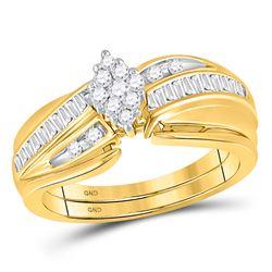 10k Yellow Gold Round Diamond Cluster Wedding Bridal Ring Set 3/8 Cttw