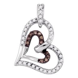 10kt White Gold Round Brown Diamond Heart Pendant 1/4 Cttw
