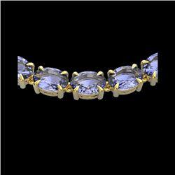 56 ctw Tanzanite Eternity Designer Necklace 14K Yellow Gold