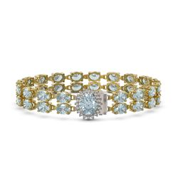 20.47 ctw Aquamarine & Diamond Bracelet 14K Yellow Gold