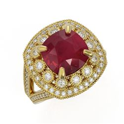 6.47 ctw Certified Ruby & Diamond Victorian Ring 14K Yellow Gold