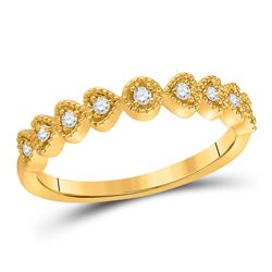 14kt Yellow Gold Round Diamond Heart Stackable Band Ring 1/10 Cttw