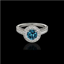 1.5 ctw SI Certified Fancy Blue Diamond Solitaire Halo Ring 10K White Gold