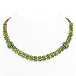 68.47 ctw Peridot & Diamond Necklace 14K Rose Gold