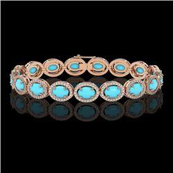 15.83 ctw Turquoise & Diamond Micro Pave Halo Bracelet 10K Rose Gold