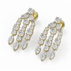 6.4 ctw Cushion and Marquise cut Diamond Earrings 18K Yellow Gold