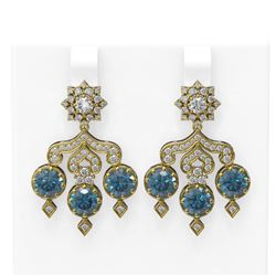 6.3 ctw Intense Blue Diamond Earrings 18K Yellow Gold