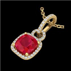 3 ctw Ruby & Micro VS/SI Diamond Certified Necklace 18K Yellow Gold