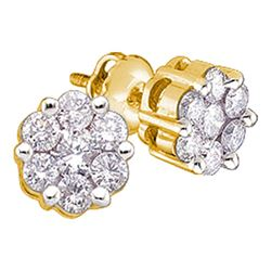 14kt Yellow Gold Round Diamond Flower Cluster Earrings 1/4 Cttw