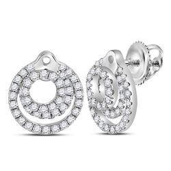 14kt White Gold Round Diamond Circular Fashion Earrings 1/2 Cttw