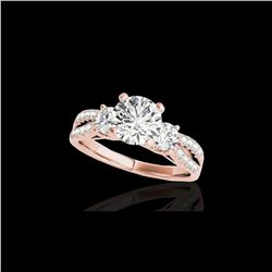 1.5 ctw Certified Diamond 3 Stone Solitaire Ring 10K Rose Gold