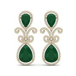 31.6 ctw Emerald & VS Diamond Earrings 18K Yellow Gold