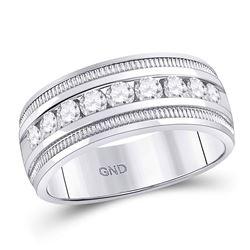 14kt White Gold Mens Round Diamond Single Row Textured Wedding Band Ring 1.00 Cttw