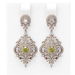 5.85 ctw Fancy Yellow Diamond Earrings 18K Rose Gold