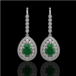 10.15 ctw Certified Emerald & Diamond Victorian Earrings 14K White Gold