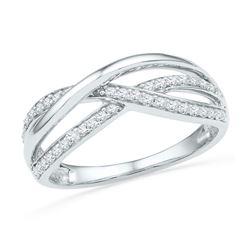 10kt White Gold Round Diamond Triple Woven Strand Band Ring 1/5 Cttw