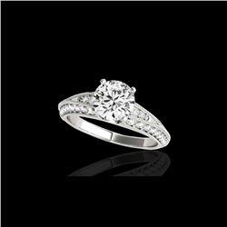 1.58 ctw Certified Diamond Solitaire Antique Ring 10K White Gold