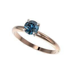 .77 ctw Certified Intense Blue Diamond Engagement Ring 10K Rose Gold
