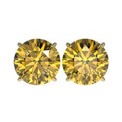 5 ctw Certified Intense Yellow Diamond Stud Earrings 10K Yellow Gold