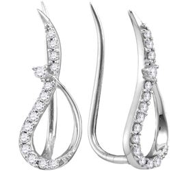 10kt White Gold Round Diamond Climber Earrings 1/5 Cttw