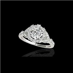 1.5 ctw Certified Diamond Solitaire Halo Ring 10K White Gold