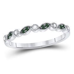 10kt White Gold Round Emerald Diamond Milgrain Stackable Band Ring 1/10 Cttw