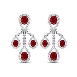 25.08 ctw Designer Ruby & VS Diamond Earrings 18K White Gold