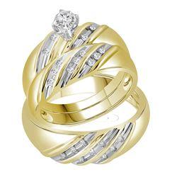 14kt Yellow Gold His & Hers Round Diamond Round Matching Bridal Wedding Ring Band Set 1/4 Cttw