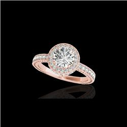 1.51 ctw Certified Diamond Solitaire Halo Ring 10K Rose Gold